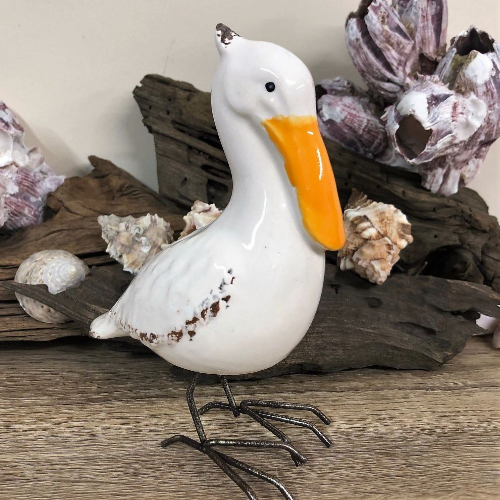 Ceramic Pelican Bird Coastal Ornament